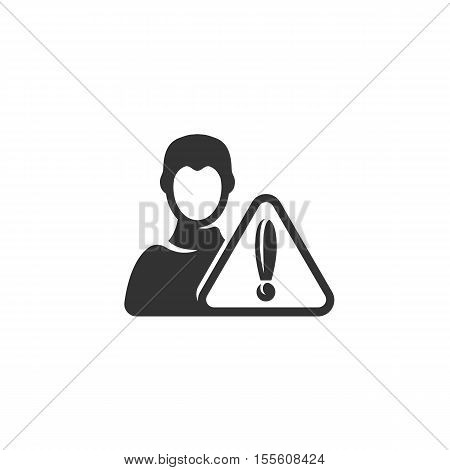 Warn user Icon isolated on a white background. Warn user Logo design vector template. Simple Logotype concept icon. Symbol, sign, pictogram, illustration - stock vector