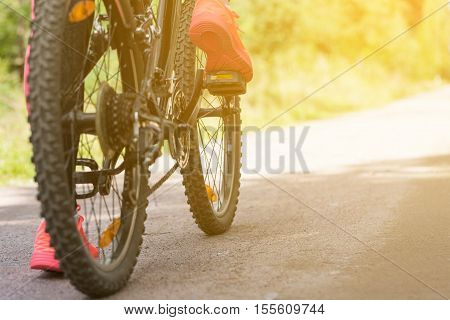 Woman Riding A Mountain Bicycle
