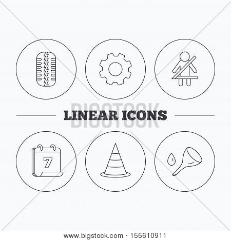 Tire tread, traffic cone and oil change icons. Fasten seat belt linear sign. Flat cogwheel and calendar symbols. Linear icons in circle buttons. Vector