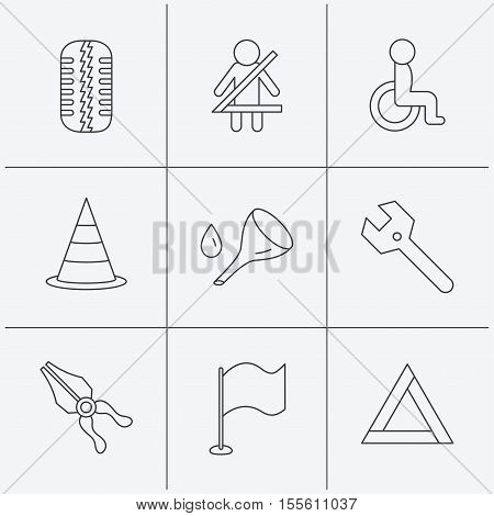 Tire tread, traffic cone and wrench key icons. Emergency triangle, flag and pliers linear signs. Disabled person icons. Linear icons on white background. Vector