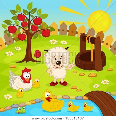 yard with animals and pond with ducklings - vector  illustration