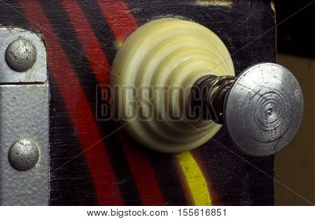 Pull lever of a vintage pinball machine
