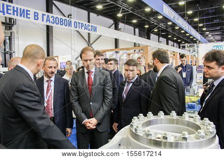 St. Petersburg, Russia - 4 October, Group of business people at Gas Forum, 4 October, 2016. Petersburg Gas Forum which takes place in Expoforum.