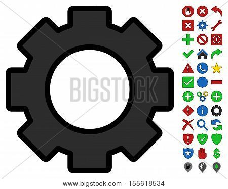Gear interface toolbar icon with bright toolbar icon collection. Vector pictogram style is flat symbols with contour edges.