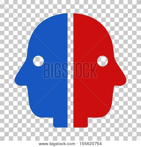 Blue And Red Dual Face toolbar icon. Vector pictograph style is a flat bicolor symbol on chess transparent background.