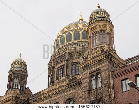 BERLIN GERMANY - April 4 2016: Dome of the Neue Synagoge New Synagogue in Berlin Germany