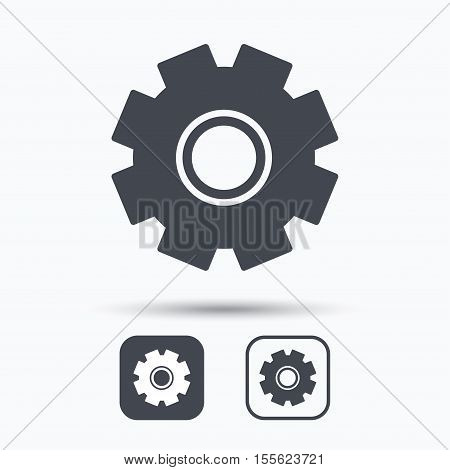 Cogwheel icon. Repair service symbol. Square buttons with flat web icon on white background. Vector