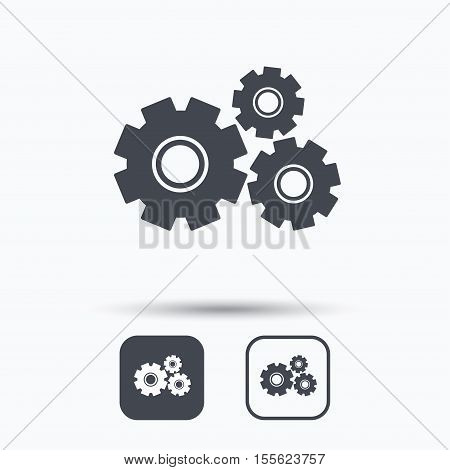 Cogwheels icon. Repair service symbol. Square buttons with flat web icon on white background. Vector