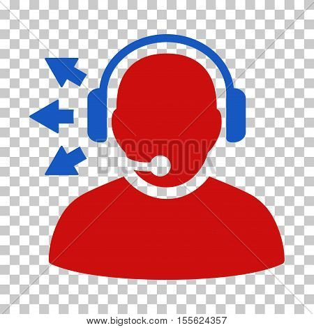 Blue And Red Operator Answer Speech interface toolbar icon. Vector pictogram style is a flat bicolor symbol on chess transparent background.