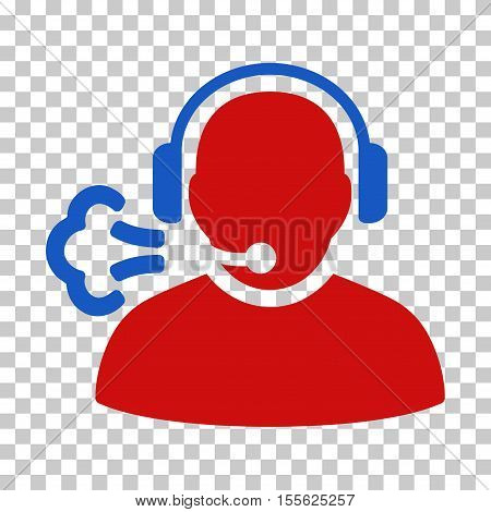 Blue And Red Operator Speech interface toolbar icon. Vector pictograph style is a flat bicolor symbol on chess transparent background.