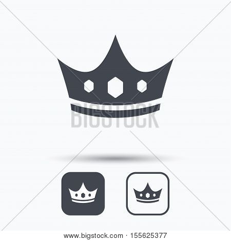 Crown icon. Royal throne leader symbol. Square buttons with flat web icon on white background. Vector