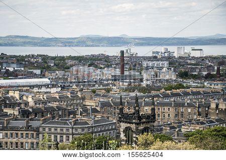 Edinburgh city the view from historic Calton Hill Aerial shot