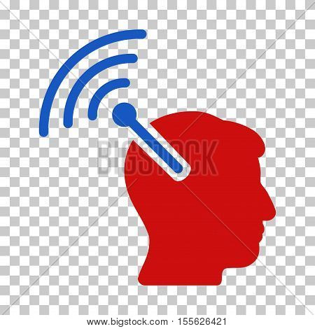Blue And Red Radio Neural Interface toolbar icon. Vector pictogram style is a flat bicolor symbol on chess transparent background.