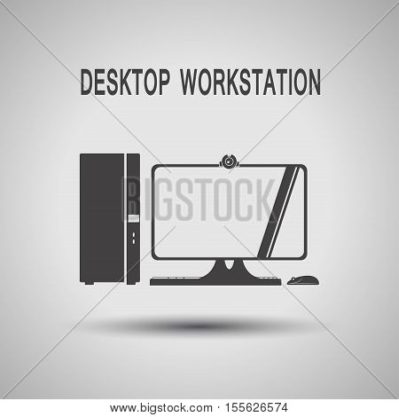 Desktop workstation gray silhouette vector icon with shadow on the gradient gray background.