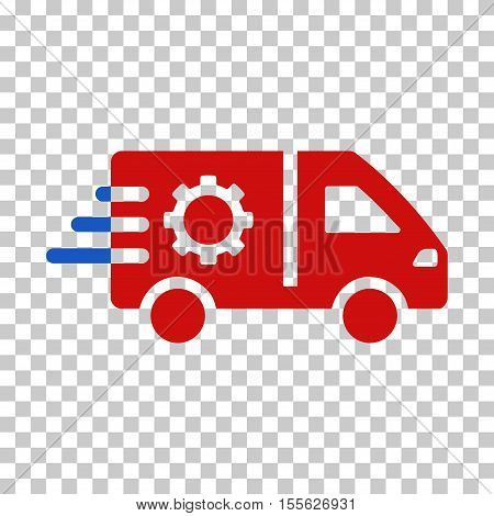 Blue And Red Service Car toolbar icon. Vector pictograph style is a flat bicolor symbol on chess transparent background.