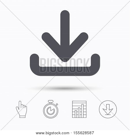 Download icon. Load internet data symbol. Stopwatch timer. Hand click, report chart and download arrow. Linear icons. Vector