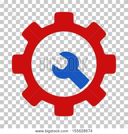 Blue And Red Service Tools interface toolbar icon. Vector pictograph style is a flat bicolor symbol on chess transparent background.