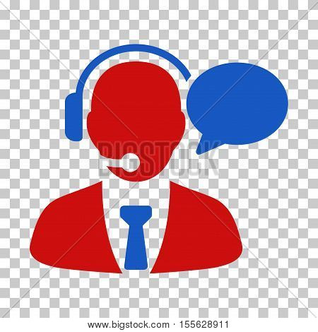 Blue And Red Support Manager Message interface toolbar pictogram. Vector pictogram style is a flat bicolor symbol on chess transparent background.