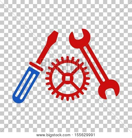 Blue And Red Tuning Service toolbar icon. Vector pictograph style is a flat bicolor symbol on chess transparent background.