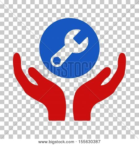 Blue And Red Wrench Maintenance interface toolbar icon. Vector pictograph style is a flat bicolor symbol on chess transparent background.
