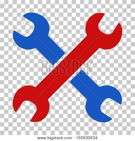 Blue And Red Wrenches toolbar icon. Vector pictograph style is a flat bicolor symbol on chess transparent background.