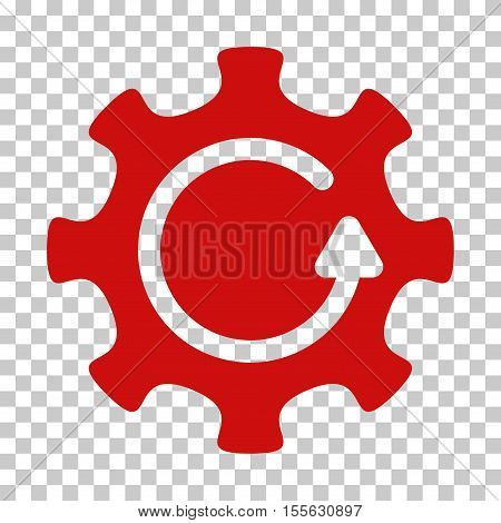 Red Cog Rotation Direction interface toolbar pictogram. Vector pictograph style is a flat symbol on chess transparent background.
