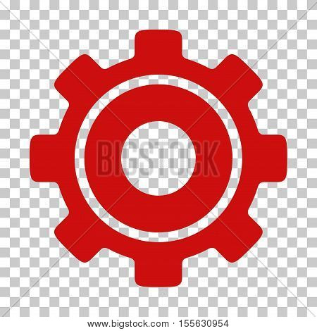 Red Cog toolbar pictogram. Vector pictograph style is a flat symbol on chess transparent background.