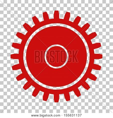 Red Cogwheel interface toolbar pictogram. Vector pictogram style is a flat symbol on chess transparent background.