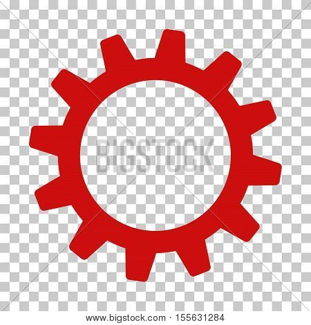 Red Cogwheel interface toolbar icon. Vector pictograph style is a flat symbol on chess transparent background.