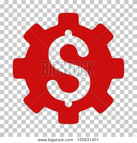 Red Development Cost interface toolbar icon. Vector pictograph style is a flat symbol on chess transparent background.
