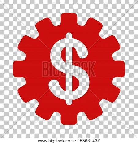 Red Development Cost interface toolbar icon. Vector pictogram style is a flat symbol on chess transparent background.
