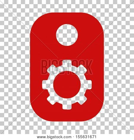 Red Gear Tag interface toolbar icon. Vector pictogram style is a flat symbol on chess transparent background.