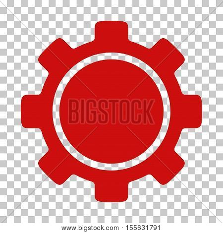 Red Gear toolbar icon. Vector pictograph style is a flat symbol on chess transparent background.