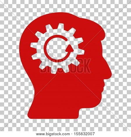Red Head Gear Rotation interface toolbar icon. Vector pictogram style is a flat symbol on chess transparent background.