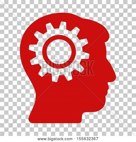 Red Intellect Gear toolbar icon. Vector pictograph style is a flat symbol on chess transparent background.