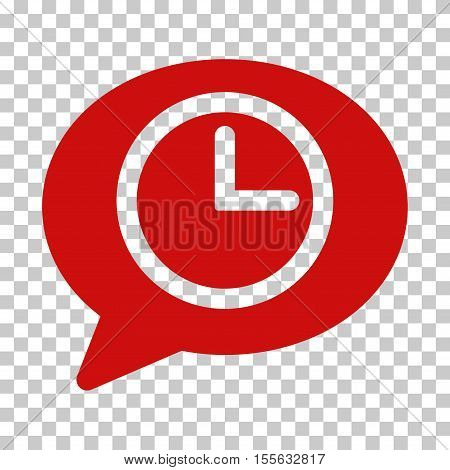 Red Message Time toolbar pictogram. Vector pictogram style is a flat symbol on chess transparent background.