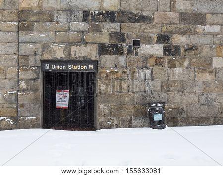 Washington D.C. USA - January 23 2016: Closed subway station
