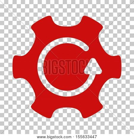 Red Rotate Gear toolbar pictogram. Vector pictograph style is a flat symbol on chess transparent background.