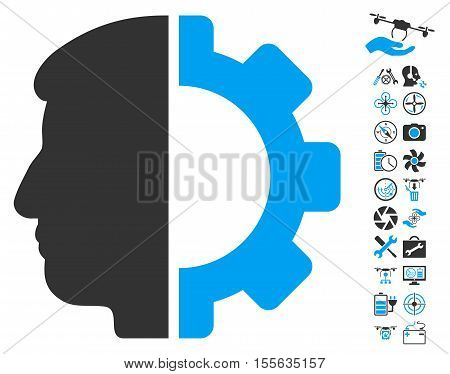Android Head pictograph with bonus airdrone tools pictograph collection. Vector illustration style is flat iconic blue and gray symbols on white background.