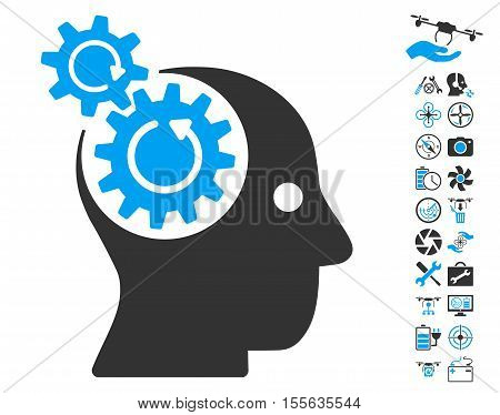 Brain Gears Rotation pictograph with bonus copter tools pictograph collection. Vector illustration style is flat iconic blue and gray symbols on white background.