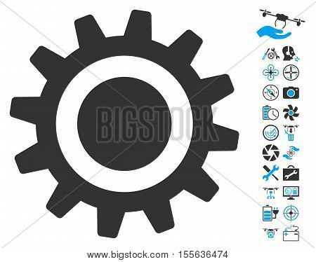 Cog pictograph with bonus quad copter tools pictograph collection. Vector illustration style is flat iconic blue and gray symbols on white background.