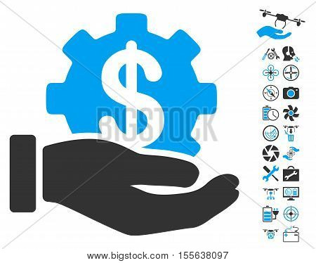 Financial Development Gear Hand pictograph with bonus drone tools pictograph collection. Vector illustration style is flat iconic blue and gray symbols on white background.