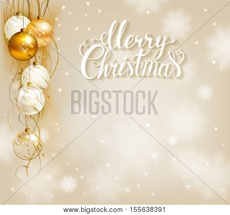 Elegant festive background with gold and white evening balls. Merry Christmas lettering.