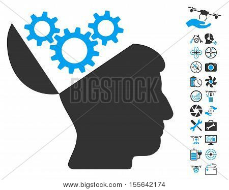 Open Mind Gears icon with bonus aircopter tools symbols. Vector illustration style is flat iconic blue and gray symbols on white background.