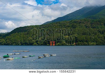 Red Torii Gate Of Hakone Shrine On Hakone Lake