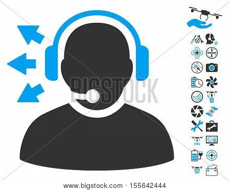 Operator Answer Speech icon with bonus drone tools symbols. Vector illustration style is flat iconic blue and gray symbols on white background.