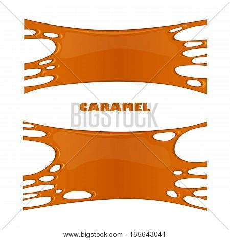 Illustration of caramel sweet drips and flowing. Splash drops and flow melted candy brown sugar syrup or honey. Abstract vector banner isolated on white background.