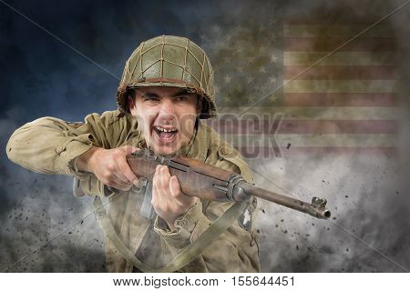 young American soldier ww2 with rifle attack