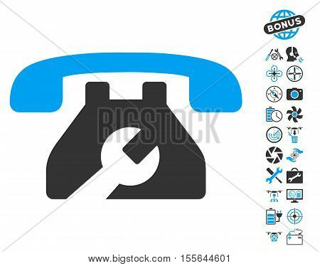 Repair Service Phone pictograph with bonus nanocopter service pictograph collection. Vector illustration style is flat iconic blue and gray symbols on white background.