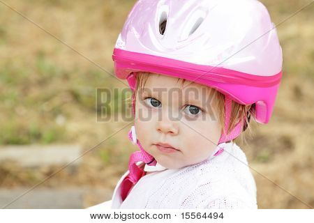 Toddler Girl With Helmet
